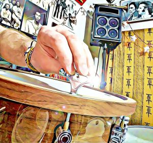 showing how to record at home by tuning a maple snare