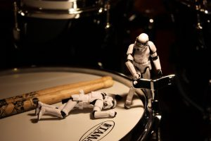 Stormtroopers tuning a drum