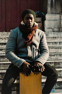 Cajon dude on the street