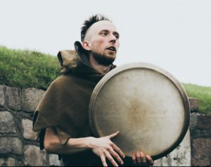 Druid playing bodhran