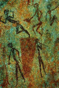 Zimbabwe Rock painting of Africans drumming