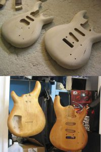 Alder guitar body with no staining