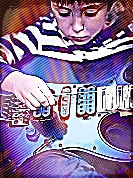 Blue Guitar Boy CARTOONED