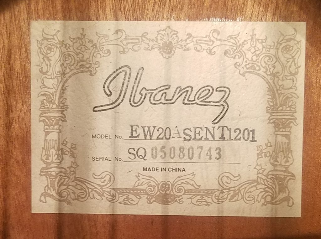 Ibanez acoustic guitar Label