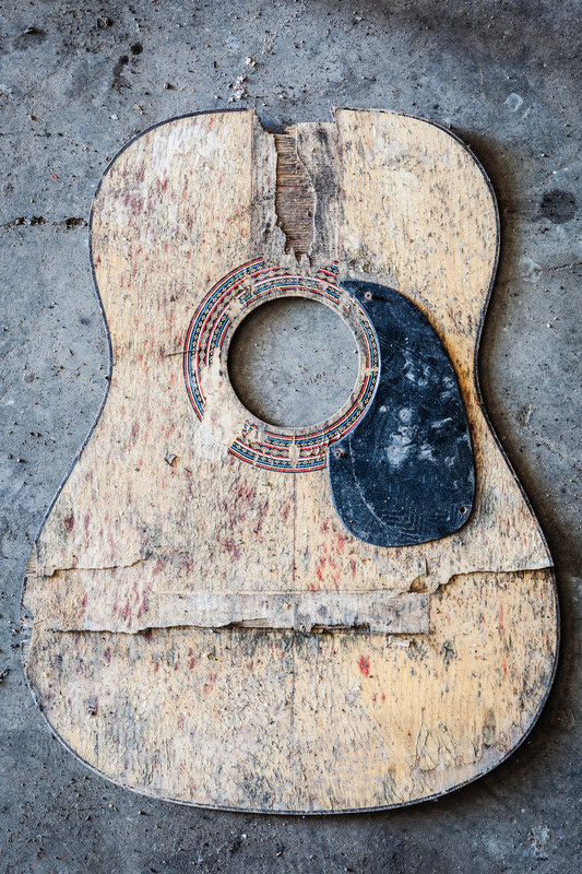 Old cracked wood acoustic