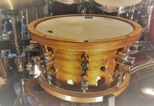 PDP snare from side in drum kit