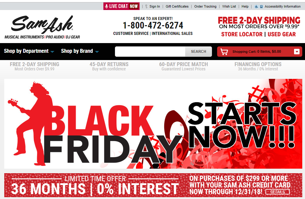 Sam Ash Black Friday savings