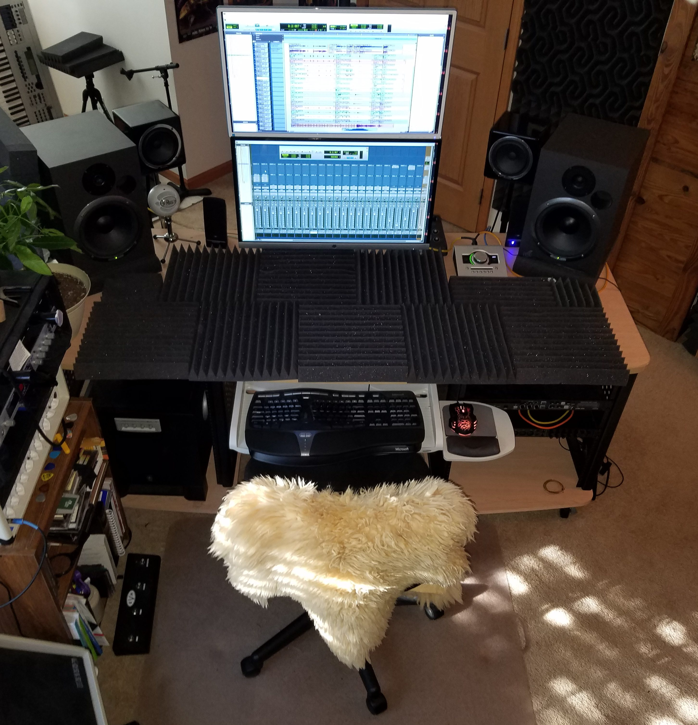Mixing desk with sound foam