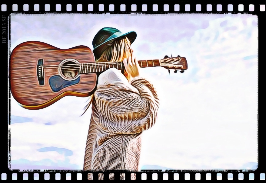 Guitar girl taking in the sky CARTOONED