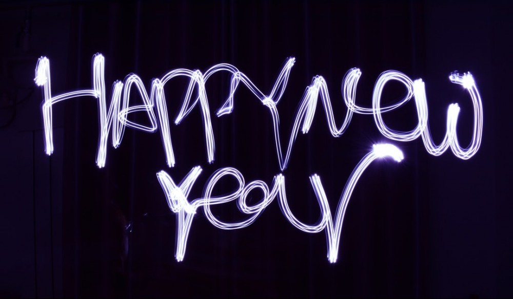 happy new year scrawled