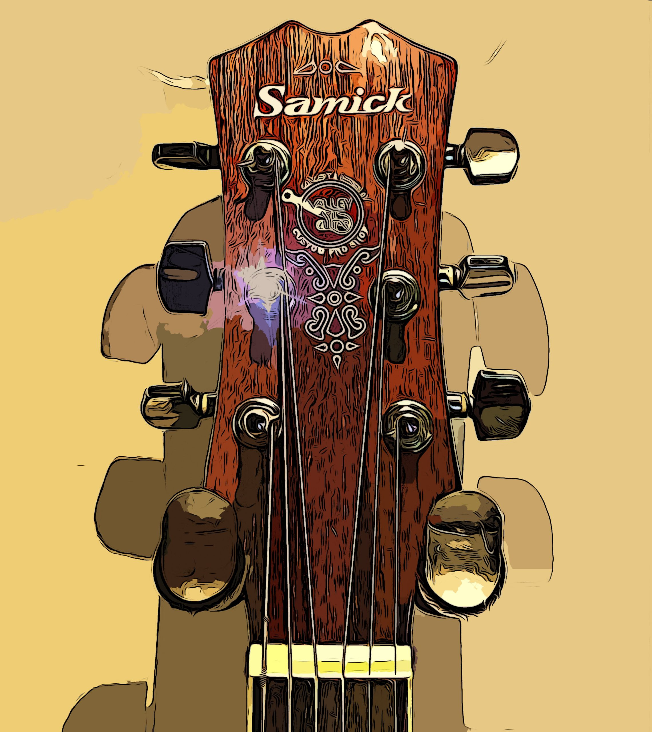 Samick cartooned headstock